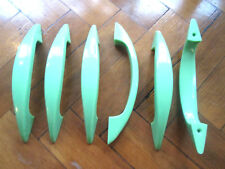 6 LARGE ART DECO GREEN CABINET DRAW DOOR HANDLES