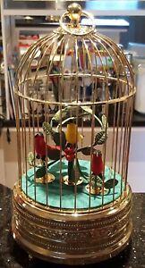 Traumhafte Spieluhr Singvogelautomat goldfarbener Vogelkäfig mit 3 Vögeln*