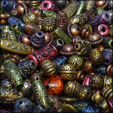 BEAD ( MIX B ) Acrylic plastic Antique Style Mixed Colour Green Brown Purple 50g