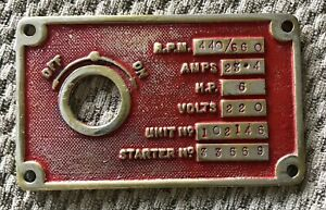 Old Metal Electrical Switch Plate Plaque Nameplate Sign Marine Amps RPM Volts