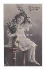 EAS 1909 AK Ostern cartolina fotografica Pasqua foto bambina rami di salice