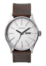 Nixon Sentry Leather Watch Silver/Brown NEW in box