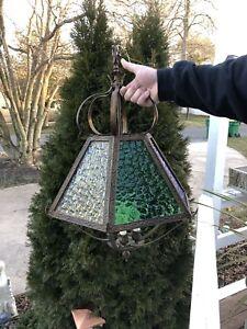 Vintage Gothic Medieval Metal Hanging Chandelier Light-Multi Color Glass