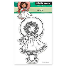 New Penny Black ADELE Mini Clear Stamp Child Girl Dress Up Hat Smile Fancy Curls
