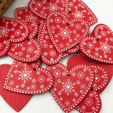 10/30pcs Red Wood snowflake Heart Buttons 50mm Sewing Craft Mix Lots WB496
