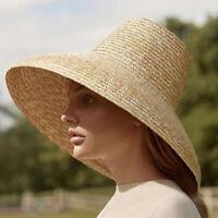 Women Straw Sun Hats Large Wide Brim Natural Raffia Panama Beach Caps BH