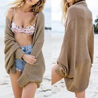 Womens Outwear Coat Oversized Long Sleeve Loose Knitted Sweater Jumper Cardigan