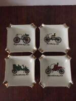Set Of 4 Vtg Original Arnart Creation Royal Crown Porcelain Automobile Ash Trays