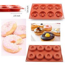 8 Cavity Silicone Donut Pan Doughnut Baking Mold Cake Cupcake Soap Savarin Mould