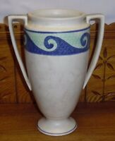 "Vintage Art Pottery Two Handle Vase - Maker Unknown Blue Waves / Scrolls 10 7/8"""