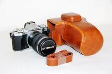 Brown leather case bag for Olympus OM-D E-M5 mark II  camera 12-40mm lens EM5 II