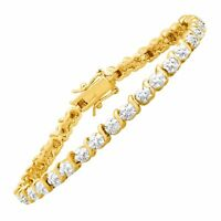 Tennis Bracelet with Diamonds in 14K Gold Flashed & Sterling Silver-Plated Brass