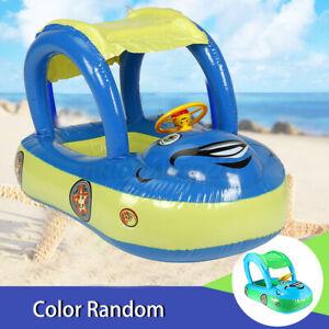 Schwimmhilfen Babyboot Schwimmsitz mit Sonnendach Aufblasbar Schwimmring