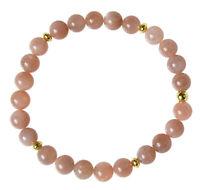 MONDSTEIN ORANGE Edelstein-Armband Stretch Perlenarmband D381