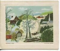 VINTAGE CHRISTMAS WINTER VILLAGE CHURCH SLEIGH RIDE GRANDMA MOSES GREETING CARD