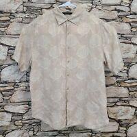 Axist Mens Casual Button Down Shirt Size Large 100% Linen Beige Short Sleeve