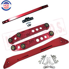 RED Rear Lower Control Arm + Subframe Brace +Tie Bar For Civic 92-95 ACURA 04-01