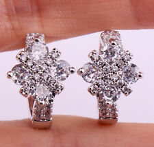 18K White Gold Filled - Clear Zircon Gem Cross Circle Prom Ladies Earrings