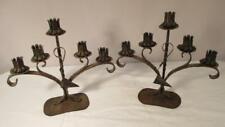 Pair Vintage Hammered Metal Candlesticks Gothic Tudor Candelabra Candle Holders