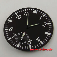 38.9mm black dial luminous dial blue hands fit Eta 6498 mens watch (Dial+hands)