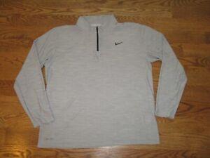 Men's Nike Breathe Dri Fit 1/4 Zip Grey Pullover Longsleeve Running Shirt Top XL