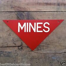 Vintage Original 1960s VIETNAM MINE SIGN Metal WARNING Triangular Mines NOS