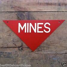 Vintage Original 1960s Vietnam Mine Sign Metal Warning Triangular Mines Nos