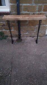 Bespoke H80 x W100 x D22cm steampunk rustic black industrial steel console table