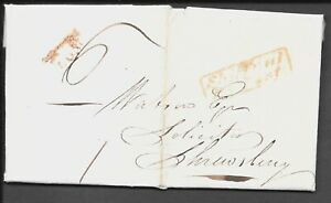 SHROPSHIRE 1832 ENTIRE BOXED SHIFFNAL / PY POST IN RED