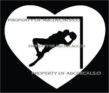 HEART I LOVE SOCCER Goalie Diving for ball in Goal Save Car Decal Wall Sticker