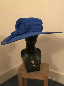 DESIGNER HAT CAPPELLI CONDICI BLUE WIDE HAT IDEAL WEDDING ASCOT MOTHER OF BRIDE