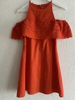 ORANGE BRODERIE ANGLAIS DRESS 8 ASOS SUMMER PRETTY IBIZA MARBS PARTY GLAM CUTE