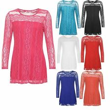 Ladies Stretch Round Neck Lined Lace Sheer Top Womens Long Sleeve Stylish Tunic