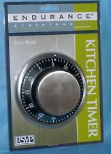 "RSVP Easy Read Kitchen Timer Black Magnetic Durable Stainless Steel 3-1/2"" New"