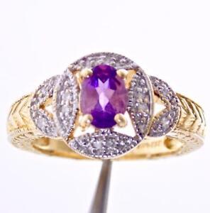 14K YELLOW GOLD DIAMOND PURPLE AMETHYST HALO SOLITAIRE ENGAGEMENT RING