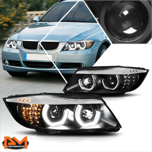 For 05-08 BMW E90 3-Series LED 3D Crystal U-Halo Projector Headlight/Lamp Black