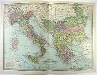 Original 1883 Map of Italy, The Balkans & Turkey in Europe by J. Bartholomew