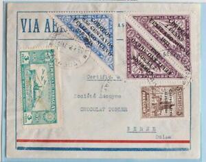 PARAGUAY to SWITZERLAND 1933 Zeppelin on Reg Flight Airmail Cover,Germany,Brazil