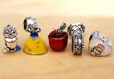 Disney Snow White Heart Dress Tiara Little Bird Poison Apple European Bead Charm