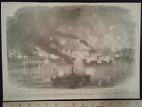 1896 Civil War Print - Naval Battle, Mississippi River - Civil War Generals