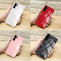 Case For Huawei P30 Pro Lite P40 Lite Pro Marble Tempered Glass Hard Phone Cover