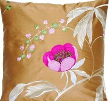"""Pink Flower Cushion Cover Embroidered Silk Lorca Fabric Ninfa Square 16"""" SALE"""