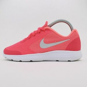 Girls NIKE REVOLUTION 3 Casual Pink Lace Up Trainers Size UK 3
