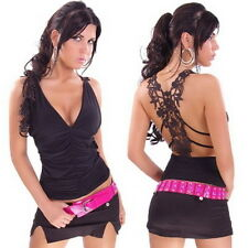 Ladies black ruffle top with sexy case back embroidery club wear size 10-12
