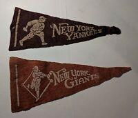 New York Yankees & New York Giants Early Vintage Antique Felt Baseball Pennants