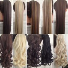 UK Real Thick Clip In 5% Human Remy Hair Extensions Pony Tail Wrap On Ponytail