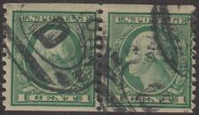 1914 PERF 10 1¢ WASHINGTON FLAT PLATE USED COIL PAIR F-VF DIFFICULT TO FIND $135