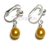 Genuine AAA Golden Pearl 18K White Gold Plated Clip On Earrings