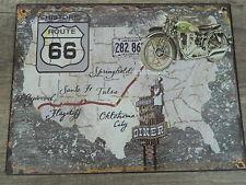 Blechschild  - Wandschild - Route 66 Historic- Harley Davidson - 33 x 25 cm
