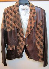FUNKY VIKTOR SABO BROWN LEATHER & SUEDE CHECK LADIES JACKET SIZE 10